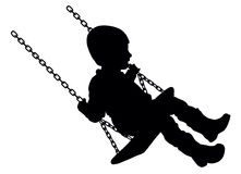 Swinging child. Vector illustration of swinging child silhouette Royalty Free Stock Photography