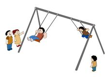 Swinging Children. Illustration of children happily swinging and having fun Stock Illustration