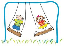 Swinging children. Isolated illustrated cartoon Royalty Free Stock Images