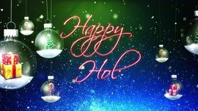 Swinging Christmas Ornaments Happy Holidays stock footage