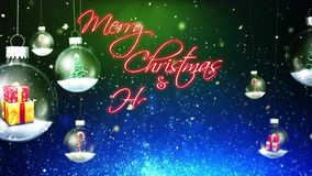 Swinging Christmas Ornaments Merry Christmas Happy New Year stock video