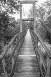 A Swinging Footbridge over a Craig Creek. A black and White image of a swinging footbridge over Craig Creek located in Botetourt County, Virginia, USA royalty free stock images
