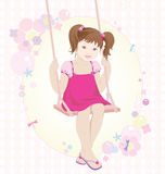 Swinging girl. Little girl on the swing Royalty Free Stock Photo