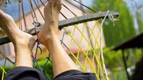 Swinging on the hammock stock footage