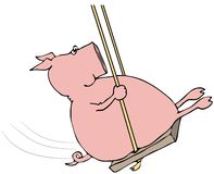 Swinging Pig. This illustration depicts a pig on a child's swing Stock Photo