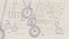 Swinging retro stopwatches against same captions in many languages. Time, transience and timezone concepts. Swinging retro stopwatches against same captions in Royalty Free Stock Photography