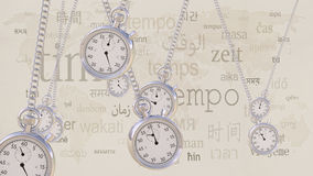 Swinging retro stopwatches against same inscriptions in different languages. Time, transience and timezone concepts. 3D Stock Image