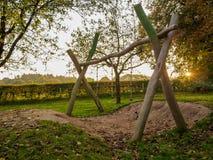 Swinging ropes by sunset Royalty Free Stock Image