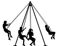 Swings. Editable  silhouette of children on playground swings with all elements as separate objects Royalty Free Stock Images