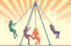Swings. Colorful editable  silhouettes of children on playground swings with sky background Stock Photography