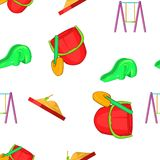 Swings for kid pattern, cartoon style Stock Image