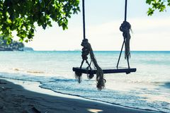 Swings at sea coast Stock Photos
