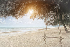 Swings on the tropical beach. Royalty Free Stock Images