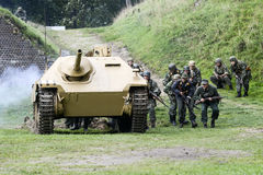 Swinoujscie, Poland, September 15, 2012: Historical reconstructi. On of the Battle of the Second World War Stock Photography