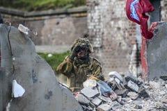 Swinoujscie, Polen, 15 September, 2012: Historische reconstructi Stock Foto's