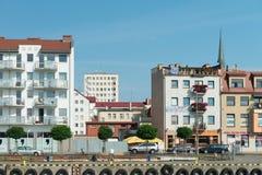 Swinoujscie - visión desde el puerto Fotos de archivo libres de regalías