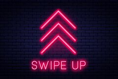 Swipe up, button for social media. Neon style arrow, button and web icon for advertising and marketing royalty free illustration