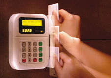 Swiping through a card reader Stock Photo