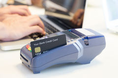 Swiping Credit Card. In Store Royalty Free Stock Photo