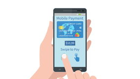 Swiping finger to secure pay on mobile smartphone device stock video