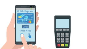 Swiping finger to secure pay on mobile smartphone device. stock video