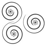 Swirl. Black swirl with a flower in the Center Stock Illustration