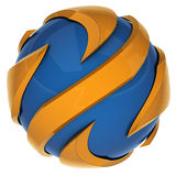 Swirl 3d lines icon such. Abstract icon of blue and yellow 3d lines, image isolated stock illustration