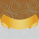 Swirl background with yellow ribbon. Illustration of abstract swirls of cirles ornament with yellow ribbon background Stock Photos