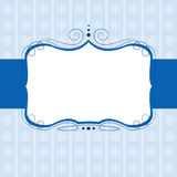 Swirl banner. On blue pattern background Stock Photo