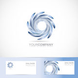 Swirl blades logo. Vector logo template of blue swirl rotation blades abstract 3d sign with business card Royalty Free Stock Photo