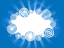 Swirl border with rays. Blue Swirl border with rays Stock Photos