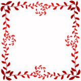 Square frame border with red leafs around. Swirl branches with leaf shapes in red tones. Mother day or valentines day invitation card frame Royalty Free Stock Images
