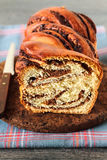 Swirl Brioche with chocolate. Sweet marbled brioche plait with nuts and chocolate Royalty Free Stock Photos