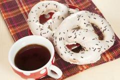 Swirl buns and tea Stock Photo
