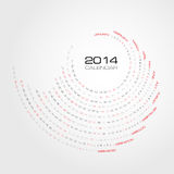 Swirl calendar 2014 Royalty Free Stock Photography