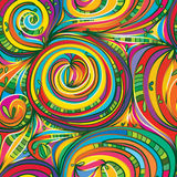 Swirl circle garden seamless pattern. Illustration abstract garden swirl circle drawing seamless pattern bright line colorful texture textile Royalty Free Stock Image