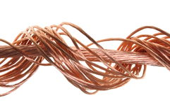Swirl copper wire. Isolated on white background Royalty Free Stock Photos