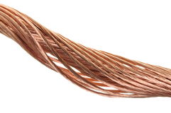 Swirl of copper wire isolated on white background Royalty Free Stock Photo