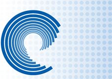 Swirl Design on Blue Dot Background. Illustration of blue swirl design on blue dot background with space for text Royalty Free Stock Images