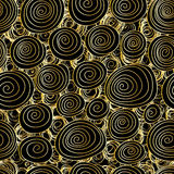 Swirl drawing gold line bright seamless pattern Royalty Free Stock Photography