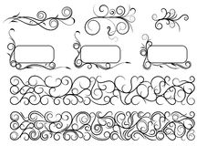 Swirl Elements. Frame Swirl element collection set  black white vector isolated Stock Image