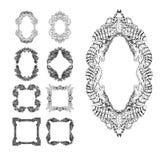 Swirl floral frames set. Old black doodle borders. Vector illustration Stock Images