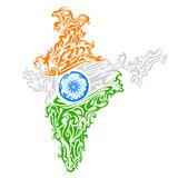 Swirl floral tricolor India map Stock Images