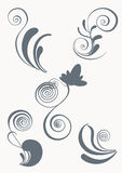 Swirl and floral vector elements in various styles Stock Photos