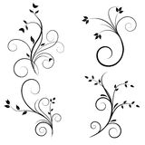 Swirl flourishes. Set of Swirl flourishes in silhouette Royalty Free Stock Photography
