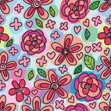 Swirl flower free draw seamless pattern Stock Photo