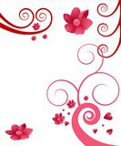 Swirl and flower illustration. An illustration with swirls and flowers in pink and red tones. There's a white background Stock Image