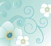Swirl and flower illustration. A graphic illustration of swirls and flowers in white and light blue tones Royalty Free Stock Photo