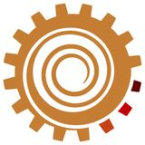 Swirl in gear wheel. Isolated line art logo design Royalty Free Stock Images