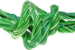 Swirl of green computer cables Royalty Free Stock Image